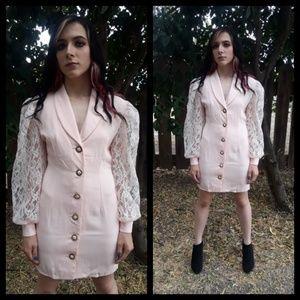 Awesome! Vtg 80s light pink lace mini dress!